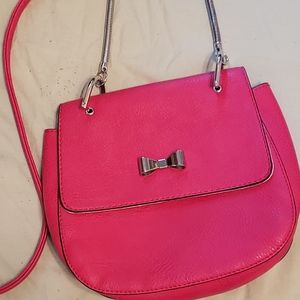 CANDIE'S HOT PINK FAUX LEATHER CROSSBODY SILVER